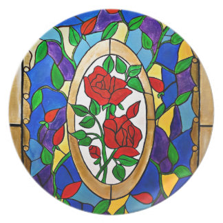 Stained glass red roses plate