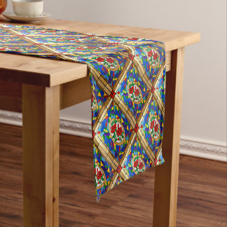Stained glass red roses short table runner