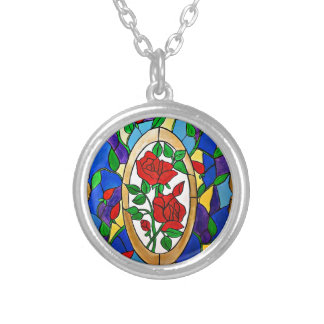 Stained glass red roses silver plated necklace