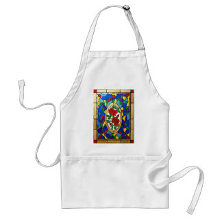 Stained glass red roses standard apron