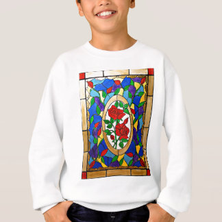 Stained glass red roses sweatshirt