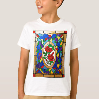 Stained glass red roses T-Shirt