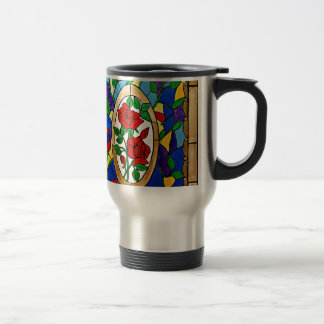 Stained glass red roses travel mug