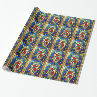 Stained glass red roses wrapping paper