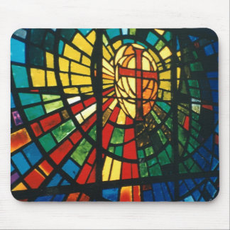 Stained glass ressurected cross mousepad art