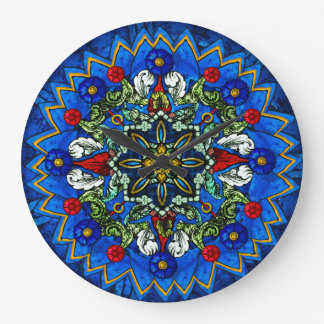 Stained Glass Rose Window Wall Clock