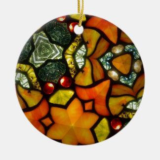 Stained glass round ceramic ornament