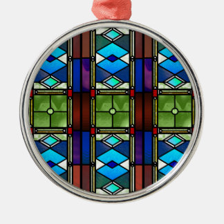 Stained Glass Silver-Colored Round Ornament
