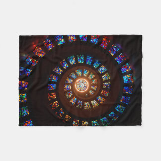 Stained Glass Spiral Window Fleece Blanket