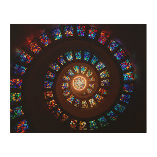 Stained Glass Spiral Window Wood Canvas