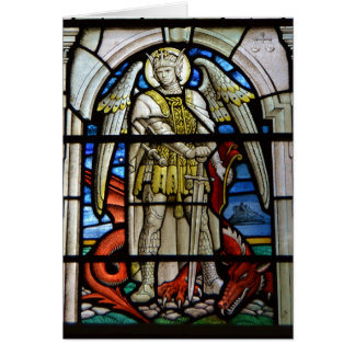 Stained Glass St Michael Helston Cornwall England Card