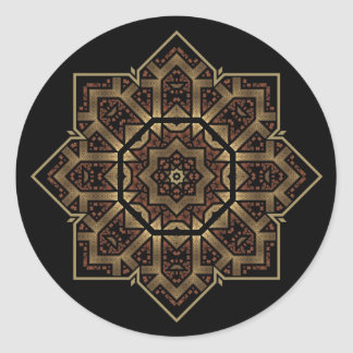 stained glass star classic round sticker