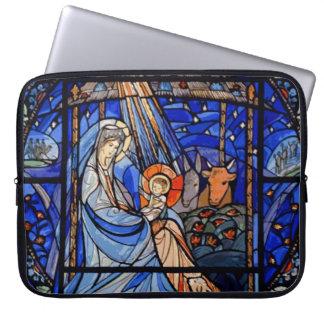 Stained Glass Stye Nativity Laptop Sleeve