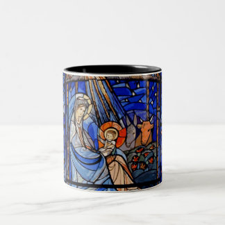 Stained Glass Style Nativity Two-Tone Coffee Mug