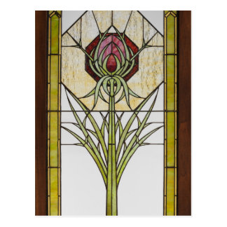 Stained Glass Stylized Thistle Geometric Shapes Postcard