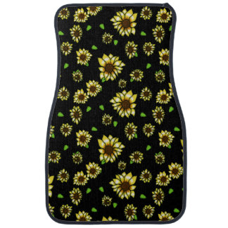 Stained Glass Sunflowers on Black Car Mat