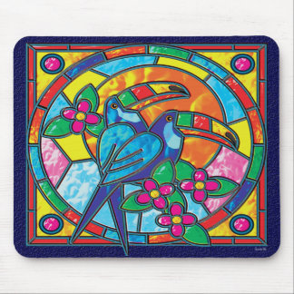 STAINED GLASS TOUCANS MOUSE PAD