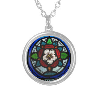 Stained Glass Tudor Rose Silver Plated Necklace