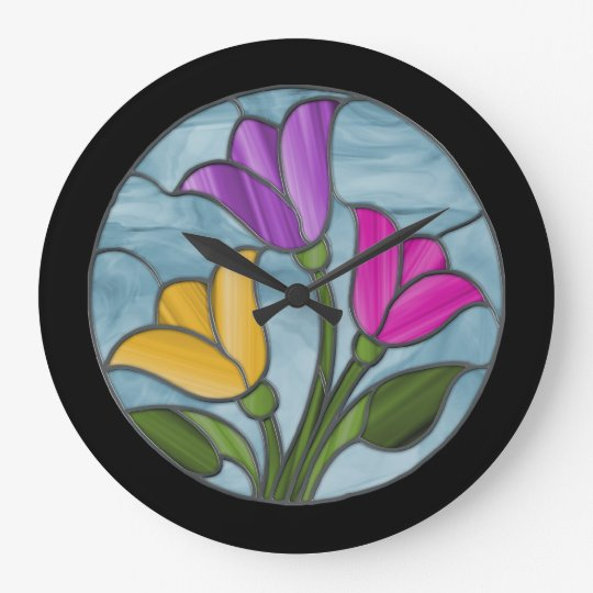 Stained Glass Tulips in Spring Colours Wall Clocks