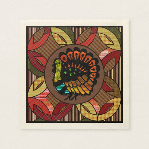 stained glass turkey on amish wedding ring quilt