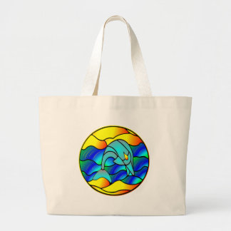 Stained Glass Type Dolphin Large Tote Bag