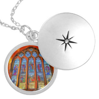 Stained Glass Van Gogh Silver Plated Necklace