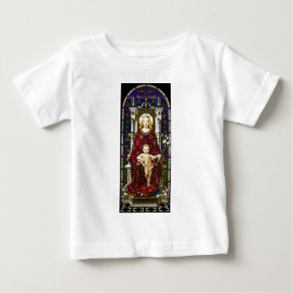 Stained glass Virgin and Child Baby T-Shirt