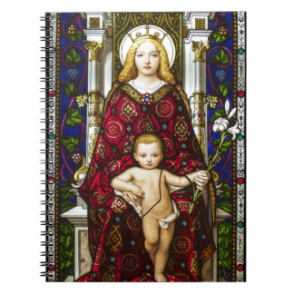 Stained glass Virgin and Child Spiral Notebook