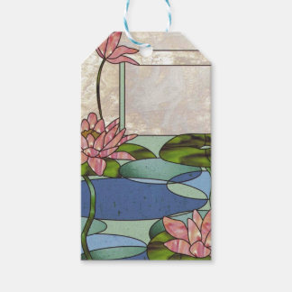 Stained glass water lilies gift tags