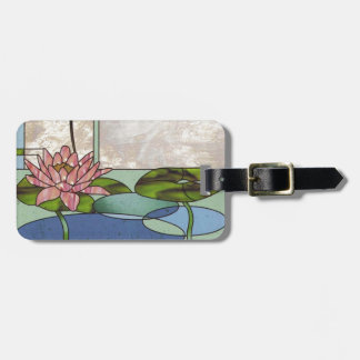 Stained glass water lilies luggage tag