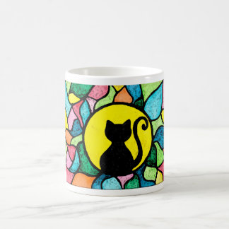 Stained Glass Watercolor Kitty Mug