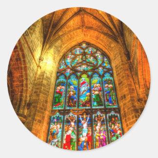 Stained Glass Window Classic Round Sticker