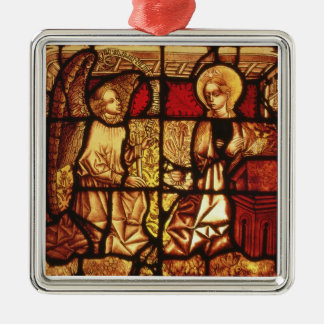 Stained glass window depicting the Annunciation, G Silver-Colored Square Ornament