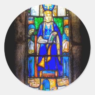 Stained Glass Window Edinburgh Round Sticker