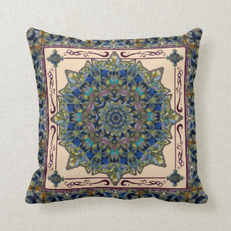 Stained Glass Window Mandala Decor Pillow