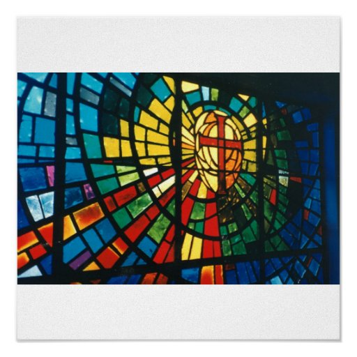 Stained Glass Window Ressurected Cross Art Poster