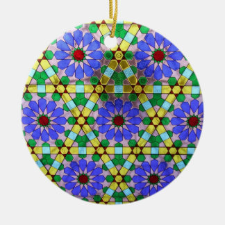 Stained glass window round ceramic ornament