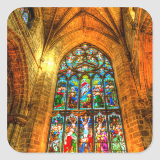 Stained Glass Window Square Sticker
