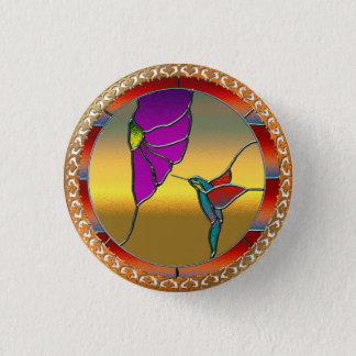 Stained Glass Window Turquoise Hummingbird 1 Inch Round Button