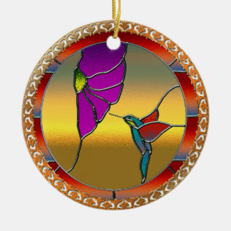 Stained Glass Window Turquoise Hummingbird Ceramic Ornament