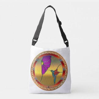 Stained Glass Window Turquoise Hummingbird Crossbody Bag