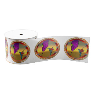Stained Glass Window Turquoise Hummingbird Grosgrain Ribbon