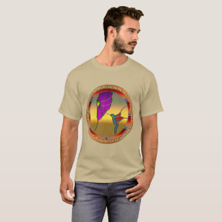 Stained Glass Window Turquoise Hummingbird T-Shirt