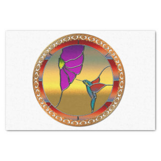 Stained Glass Window Turquoise Hummingbird Tissue Paper