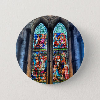 Stained Glass Windows, Salisbury Cathedral, UK 2 Inch Round Button