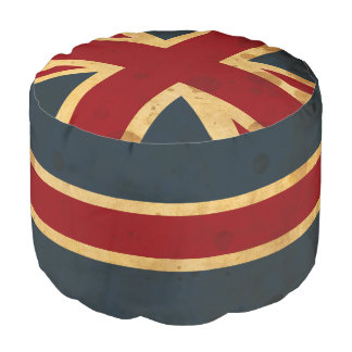 Stained Union Jack UK Flag Pouf
