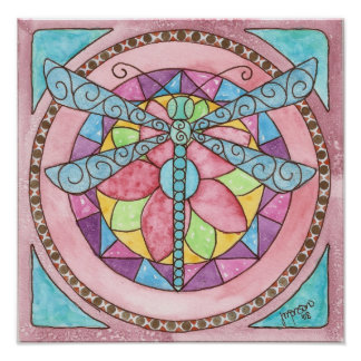 stainedglass dragonfly poster