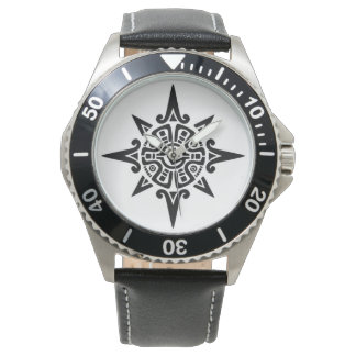 Stainless black leather watch with tribal symbol