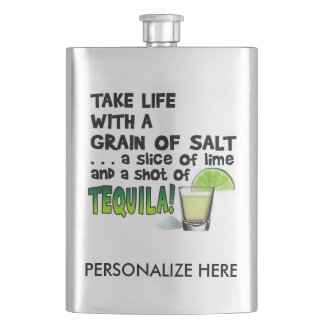 Stainless COCKTAIL FLASK - LIME, SALT, TEQUILA!