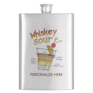 STAINLESS FLASK - WHISKEY SOUR RECIPE COCKTAIL ART